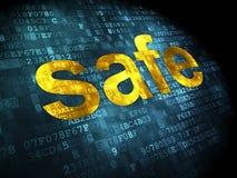 Security concept: safe on digital background. Security concept: pixelated words safe on digital background, 3d render Royalty Free Stock Image