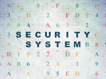 Security concept: Security System on Digital Paper. Security concept: Painted blue text Security System on Digital Paper background with Hexadecimal Code, 3d Stock Images