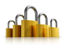 Security concept: set of metal padlocks Royalty Free Stock Photos