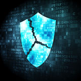 Security concept: shield on digital background. Security concept: pixelated broken shield icon on digital background, 3d render Royalty Free Stock Images
