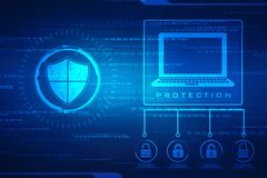 Security concept: shield on digital screen, cyber security concept background royalty free stock photos