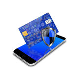 Security  concept  with  social media  and credit card on smartphon Royalty Free Stock Photo