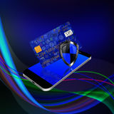 Security concept with social media  and credit card on smartphon Royalty Free Stock Images