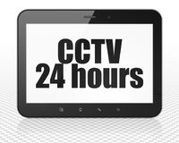 Security concept: Tablet Pc Computer with CCTV 24 hours on display. Security concept: Tablet Pc Computer with black text CCTV 24 hours on display, 3D rendering Royalty Free Stock Images