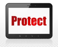 Security concept: Tablet Pc Computer with Protect on display Royalty Free Stock Photo