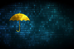 Security concept: Umbrella on digital background Royalty Free Stock Photo