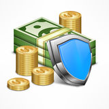 Security concept vector illustration. Security concept for business money with shield vector illustration Royalty Free Stock Photos