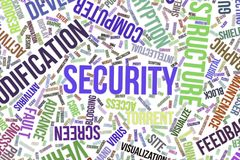 Security, conceptual word cloud for business, information technology or IT. Security, IT, information technology conceptual word cloud for for design wallpaper Stock Images