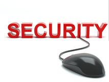 Security connected to a computer mouse Stock Image
