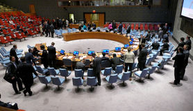 The Security Council Chamber during preparation for session. It is located in the United Nations Conference Building. Stock Photo