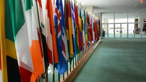 Security Council chamber United Nations Headquarters. United Nations Flags stock video footage