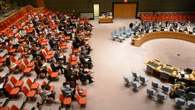 Security Council chamber United Nations. Headquarters in New York stock video footage