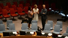 Security Council chamber United Nations. Headquarters in New York stock footage