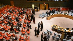 Security Council chamber United Nations. Headquarters in New York stock video