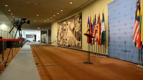 Security Council chamber United Nations Headquarters. Press statement position stock video footage