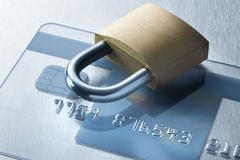 Security Credit Card Technology Lock. A lock on a credit card Stock Photography