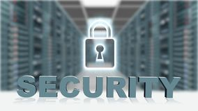 SECURITY - 3D letters in front of digital screen padlock on server room background. 3D rendering stock illustration