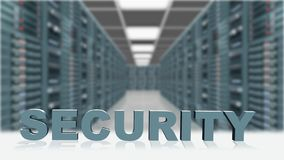 SECURITY - 3D letters in front server room background. 3D rendering royalty free illustration