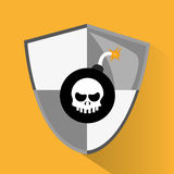 Security data and cyber system design. Skull bomb icon. Security data and cyber system theme. Colorful design. Vector illustration Stock Image