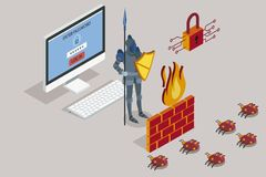Security data protection with firewall. Online data security. Antivirus software for work safe the web. Security data protection with firewall. Vector Stock Photography