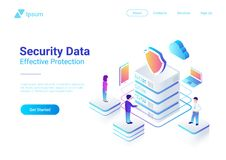 Security Data Protection Isometric Flat vector ill vector illustration
