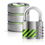Security Database Concept. Security Concept - Padlock Protects Database and Hard Disk Icon, isolated on white, vector illustration Royalty Free Stock Photo