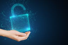 Security and database concept. Hand holding glowing padlock on dark background. Security and database concept. 3D Rendering stock photos