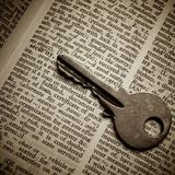 Security definition pointed out by key royalty free stock images