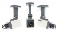 Security digital cameras. Over white Royalty Free Stock Image