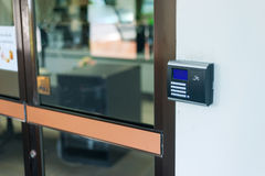 Security door card scan in soft light Royalty Free Stock Images
