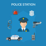 Security elements of the police equipment symbols vector icons. Royalty Free Stock Images