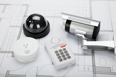 Security Equipment With Blueprint Royalty Free Stock Images