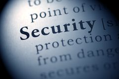 Security. Fake Dictionary, Dictionary definition of the word Security Royalty Free Stock Photos