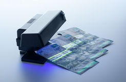 Security features on banknote in UV light protection Royalty Free Stock Photography