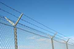 Security fence. And barbed wire royalty free stock image