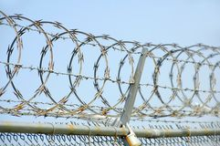 Security Fence. Chain link security fence with razor wire Royalty Free Stock Photos