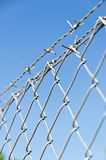 Security fence. Spiral fence wire  and barbed wire detail Royalty Free Stock Photos