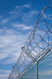 Security fence with barbed wire Royalty Free Stock Photography