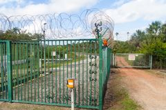 Security fence at Centre Spatial Guyanais. Guiana Space Centre in Kourou, French Guiana stock photo