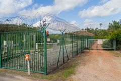Security fence at Centre Spatial Guyanais. Guiana Space Centre in Kourou, French Guiana stock image