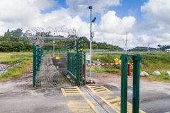 Security fence at Centre Spatial Guyanais. Guiana Space Centre in Kourou, French Guiana stock photos
