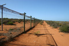Security fence surrounding Military site, South Australia Royalty Free Stock Photography