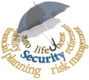 Security financial planning umbrella words. Umbrella symbol of comprehensive insurance security for home auto life and other risks Royalty Free Stock Image
