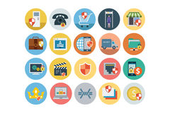 Security Flat Colored Icons 3 Stock Photos