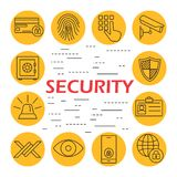 Security flat icons set. Information technology security icons set of wireless data transfer protection. Protection system design. Isolated on white background Stock Photography