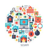 Security flat infographics icons in circle - color concept illustration for security cover, emblem, template. Security flat infographics icons in circle - color Royalty Free Stock Photography