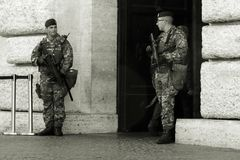 The security forces in Italy. All of the prominent buildings in Italy are protected by special forces Stock Images