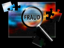 Security Fraud. An image for the concept of focus on security and fraud with a finger print, rows of digital stream letters and numbers under a magnifying glass Stock Photo