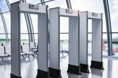 Security gates or metal detectors in airport. 3d rendering security gates or metal detectors in airport Stock Photos