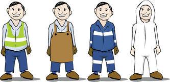 Security gear. Cartoon illustration of four workers wearing several security clothing for distinct kind of work royalty free illustration